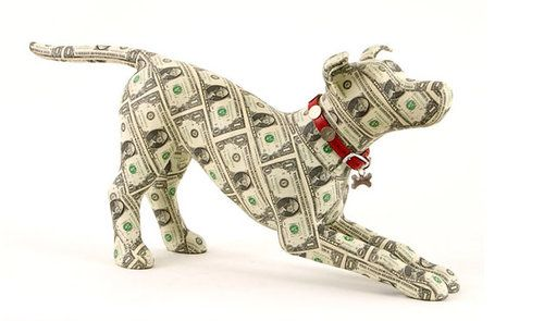 Dog made of dollar bills
